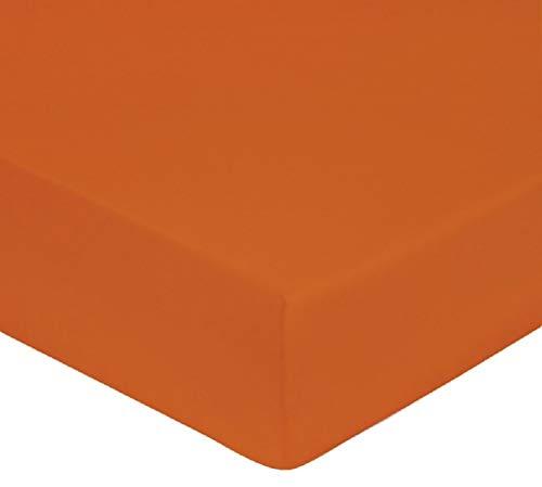 Alpes Blanc Drap Housse en Coton Bonnet 28 cm/Drap Housse uni 100% Coton 57 Fils très Doux (Orange, 90_x_190_cm)