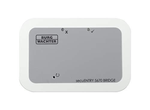 BURG-WÄCHTER secuENTRY Bridge 5670, Türöffnung und -schließung aus der Ferne via KeyApp, Verbindung mit WLAN, Verschlüsseltes Bluetooth-Signal, für alle secuENTRY Türschlösser