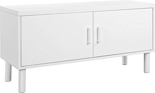 IN-HOMEXL | Flacher Schuhschrank, Standregal mit Stauraum, höhenverstellbare Einlegeböden 38 x 100 x 35 cm | Weiß