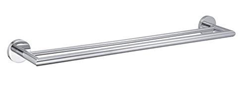 Toallero cromado de acero inoxidable pulido, 58 cm, 2 barras para baño