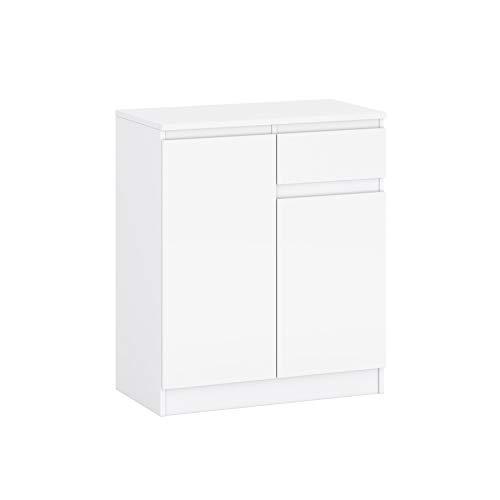 Kommode mit EIN kleine Schublade und Zwei Türen Sideboard Mehrzweckschrank Schrank fur Wohnzimmer Schlafzimmer Kinderzimmer Garderobe Flur 2 Farbvarianten (39.1 x 72.8 x 85.6 cm LxBxH) (Weiß)
