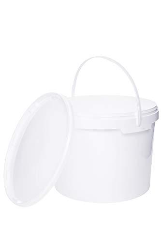 Eimer mit Deckel WEISS Kunststoffeimer Deckel Henkel Lebensmittelecht Hochwertiger (5, 10 Liter)