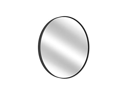 Black Round Wall Mirror - 16 Inch Large Round Mirror, Rustic Accent -