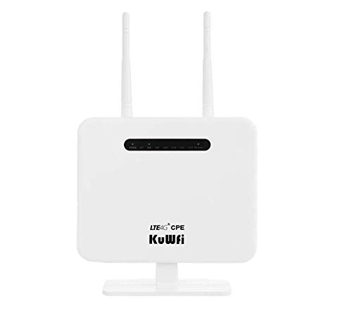 4G LTE CPE Router, Unlocked 300Mbps Wireless Router with SIM Card Slot Two outdoor Antenna 4 LAN Port WiFi Hotspot High Speed EU Version For 32 Users Work with 3 / EE / O2 / Vodafone SIM Card
