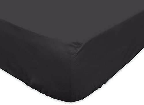 Fundas de almohada y sábana bajera ajustable, 100% algodón, 40 x 80, 50 x 70, 80 x 80, compatible con 90 x 190 + 30, 140 x 200 + 30, 160 x 200 + 30, 180 x 200 + 30 cm, color negro 180 x 200 cm).
