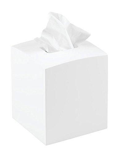 mDesign Kosmetiktücherbox quadratisch - praktische Papiertuchbox für Hygienepapier im Badezimmer - Tissuebox in modernem & elegantem Design - Farbe: weiß