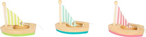 small foot 11653 Wasserspielzeug Segelboote aus Holz, 3er Set Badespielzeug fürs Wasser, Holzboote für Kinder ab 2 Jahre Spielzeug