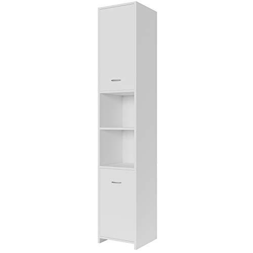 Deuba Armario de baño Blanco y Alto Mueble de alamacenamiento con 2 Puertas 2 estantes 185x30x30 cm almacenaje Toallas
