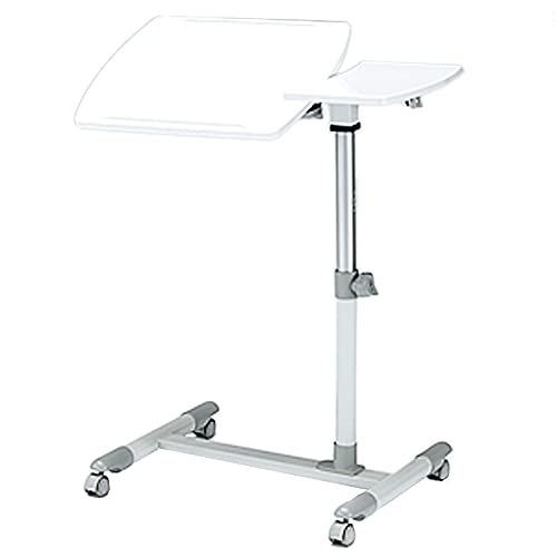 LJFYXZ Mesa de Ordenador Mesa de Ordenador Portátil con Ruedas y Soporte para Ratón Altura Ajustable 57-83 cm con Antideslizante-Barra(Color:Blanco)