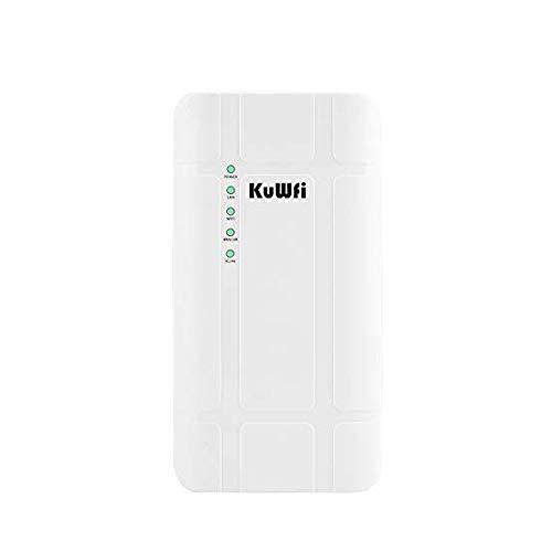 KuWFi 300Mbps Impermeable al Aire Libre 4G LTE CPE Router con Adaptador PoE CAT4 LTE Routers 3G/4G SIM Tarjeta WiFi Router para Cámara IP/Cobertura WiFi Exterior