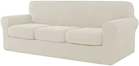 CHUN YI 4 Pieces Stretch Sofa Cover for Dogs,3 Seater Settee Couch Slipcover with 3 Separate Cushion Replacement Coat,Small Checks Spandex Jacquard Fabric,Large,Ivory White