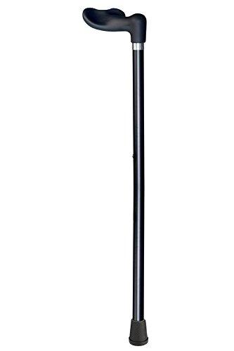 Gehstock mit Soft Fischergriff schwarz, anatomisch geformt rechts