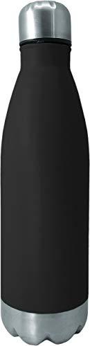 NERTHUS Pared Simple Negra de Acero Inoxidable 750 ml, Agua, Botella Reutilizable, 29 x 7,5 x 7,5 cm