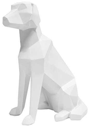 Present Time - Statue Chien Blanc Assis Origami