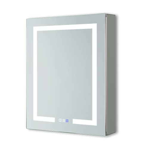ExBrite LED Lighted Bathroom Medicine Cabinet with Mirror, 24 x 30 Inch, Recessed or Surface Mount, 2 Outlets, Defog, Stepless Dimming and Color Temper 3000K-6400K, Storage Shelves, Left Hinge