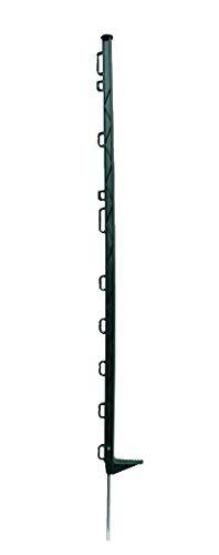 horizont Weidezaunpfähle Kunststoff grün, Kunststoffpfähle 10 Stück, Höhe 104 cm, mit 10 Ösen für Bänder, Seile, Litzen, mit Einzeltritt, Weidezaunpfahl Kunststoffpfahl Weidezaun Aufstellpfahl