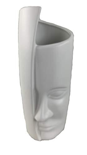 Dekovase Vase Gesicht Blumenvase 32 cm Hoch Deko Modern Design Keramik (Weiß)