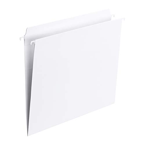 Smead FasTab Hanging File Folder, Straight-Cut Built-in Tab, Letter Size, White, 20 per Box, (64102)