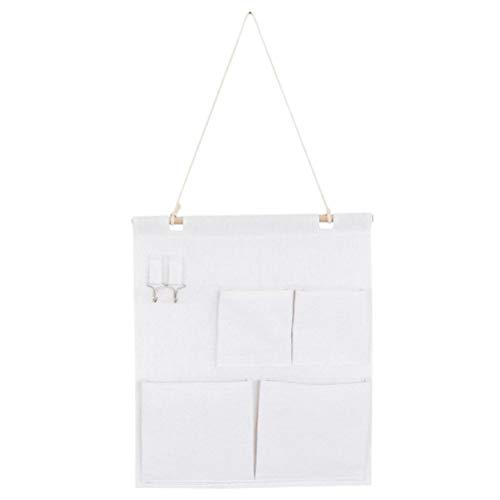 Cabilock - Práctico organizador creativo de algodón y lino, bolsa de almacenamiento para colgar en la pared, puerta, armario, bolsa de almacenamiento (con palillo de madera, cuatro bolsillos)