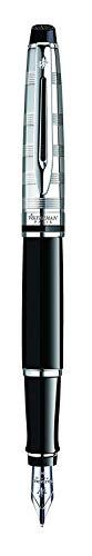 Waterman Expert 3 Penna Stilografica Deluxe Black, Finiture Cromate, Pennino Medio