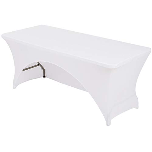 table display for vendors Haorui 6 ft. White Rectangular Spandex Table Cover Open Back Fitted Stretch Tight Table Cloth Tradeshows Vendors