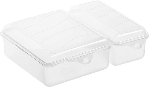 Rotho Fun Vesperdose mit zwei getrennten Fächern, Kunststoff (PP) BPA-frei, transparent, 1,05l + 0,55l (22,0 x 16,5 x 7,0 cm)