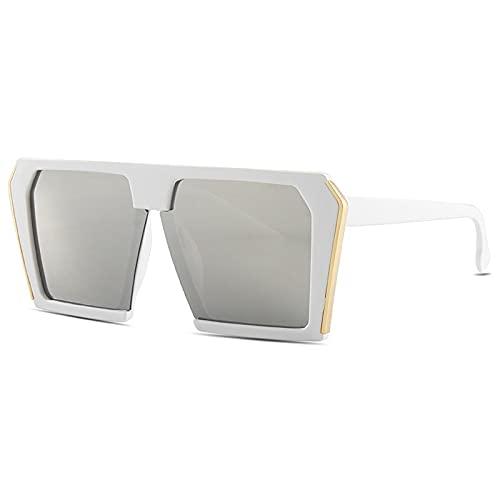 JINZUN Gafas de Sol cuadradas de Montura Grande Gafas de Sol Punk Personalizadas para Hombres y Mujeres con el Mismo párrafo Parasol Anti-Ultravioleta Blanco/Mercurio Blanco