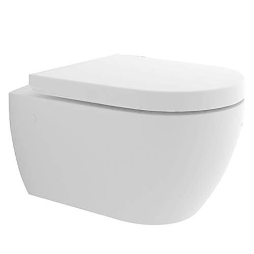WC sospeso senza brida, funzione bidet integrato, sedile WC rimovibile, forma a D, con set di collegamento per WC e sedile, bidet 2 in 1 e WC