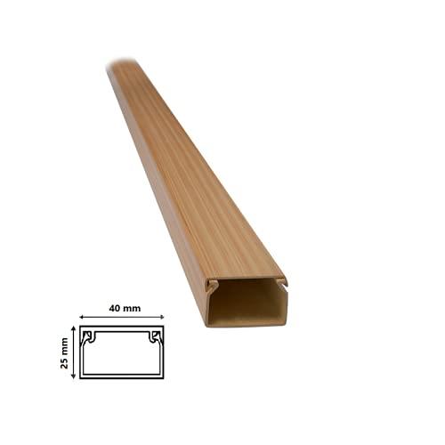 2 mt Canalina per cavi elettrica in plastica passacavi Legno Chiaro coprifili a parete varie misure con copertura (Dimensione 40x25 Chiaro)