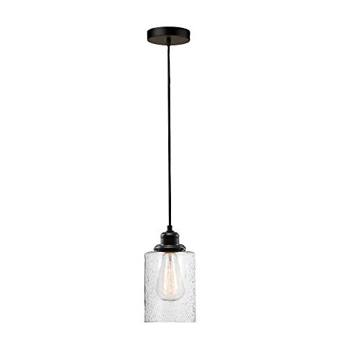 Globe Electric Annecy 1 Plug-in or Hardwire Pendant Light Shade 60542, Dark Bronze with Seeded Glass