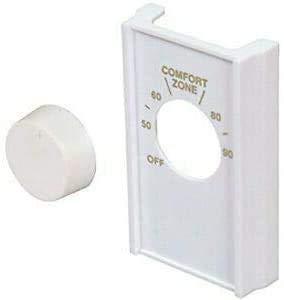 White Single Pole Line Volt Thermostat Cover w/Line Volt Thermostat Knob Set by LOWPRICESUPPLY