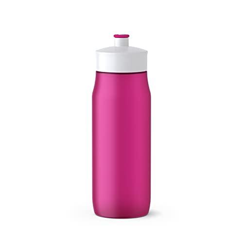 Emsa 518085 Squeeze Sport-Trinkflasche   0,6 Liter Fassungsvermögen   Ohne BPA   100% auslaufsicher und spülmaschinengeeignet   Robust und stylisch   Pink/ Weiß