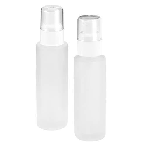 Lurrose 2pcs 60ml Portable Glass Spray Bottle Empty Refillable Fine Mist Spray Bottle Leak Proof Travel Container for Essential Oils Perfume(White)