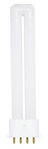 Satco S8365 4100K 9-Watt 2G7 Base T4 Twin 4-Pin Tube for Electronic and Dimming Ballasts
