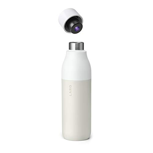 LARQ Insulated Self-Cleaning and Stainless Steel Water Bottle With UV Water Sanitizer, 17oz, Granite White