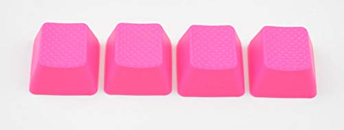 Blank TPR Rubber Gaming Keycaps 4 Keys Set 1u for Cherry MX Mechanical Keyboards Compatible OEM (R0, Neon Pink)