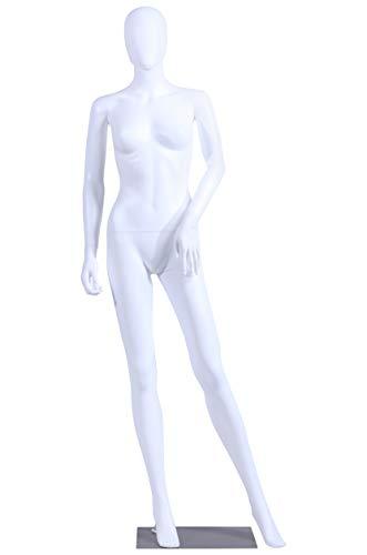 Eurotondisplay Frau FC-4W - Maniquí femenino, color blanco mate, sin cara, brazos y cabeza