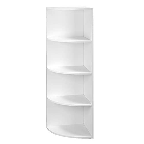 HNWNJ Estantería de almacenamiento de 4 capas con forma de abanico de esquina de 30 x 30 x 129,5 cm, color blanco para oficina, dormitorio, sala de estar, cocina, comedor, balcón, sala de estudio