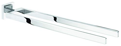 tesa DELUXXE Handtuchhalter, Metall, verchromt, inkl. Klebelösung, zwei Arme, garantiert rostfrei, 50mm x 72mm x 450mm