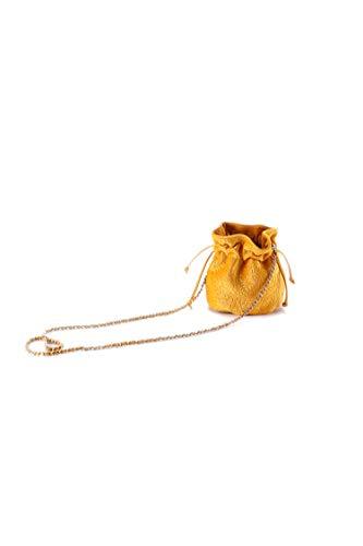 Ulisty Mujer Terciopelo Pequeña Cordón Bolsa de Cubo Mini Bolsa de Hombro Bolso Bolsa Cruzada Amarillo