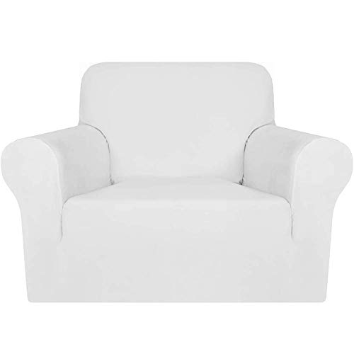erddcbb Sofa Covers 3 Seater Pure Color Sofa Protector Velvet Easy Fit Elastic Fabric Stretch Couch Slipcover Machine Washable (1 Seater/Chair,White)