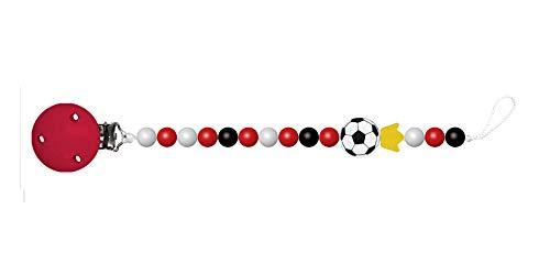 Baby Schnullerkette mit Perlen aus Holz. König Fußball Vereinsfarbe rot weiss ohne Namen