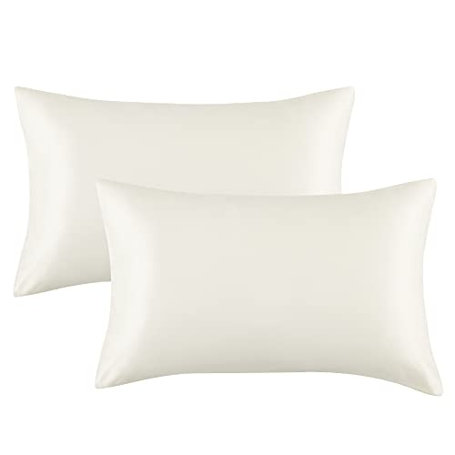 Bedsure Satin Pillowcase for Hair and Skin Queen - Ivory Silk Pillowcase 2 Pack 20x30 inches - Satin Pillow Cases Set of 2 with Envelope Closure