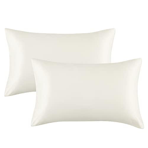 Bedsure Satin Pillowcases Standard Set of 2 - Ivory Silk Pillow Cases...