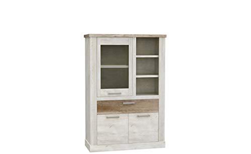 Furniture24 Vitrine Duro DURV821L Standvitrine, Wohnzimmerschrank, Vitrinenschrank mit 2 Türen und Schublade (Ohne Beleuchtung)
