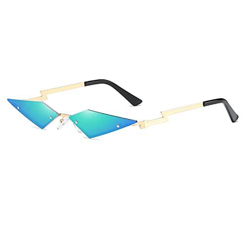 NJJX Gafas De Sol De Moda Streetwear Con Forma De Murciélago, Gafas De Sol Sin Montura Para Mujer, Lentes De Película Auténtica Para Hombre, Llama De Fuego Retro C04