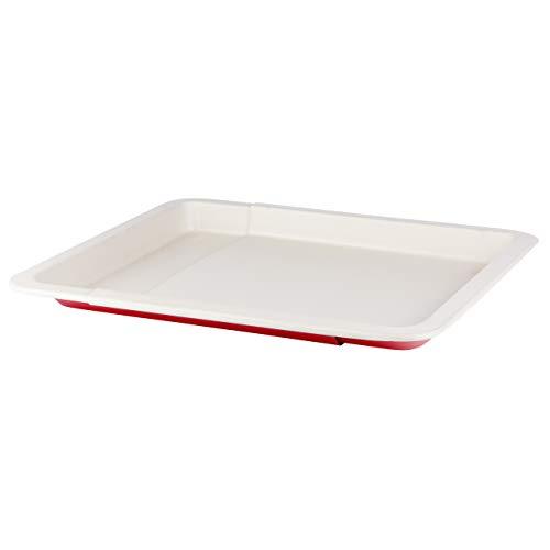 Grizzly Backblech ausziehbar 33-52 cm keramikbeschichtet antihaft Ofenblech passend für alle Backöfen Kuchenblech größenverstellbar Pizzablech zum Ausziehen rot creme Made in Germany