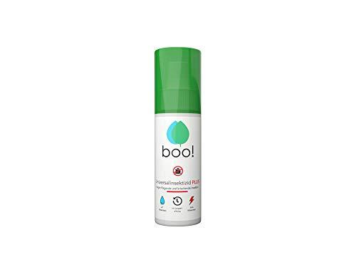 boo! Plus - Extra Starkes Insektenspray - Insektenschutz als Spray gegen Mücken, Milben, Bettwanzen etc - Insektizid auf Wasserbasis - Langzeitwirkung von bis zu 3 Monaten - 100 ml