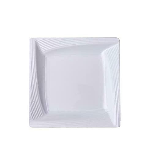 6' White Square Salad Plates with Ridge Rim Wedding Party Disposable Tableware