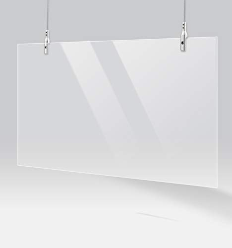 ShieldPix 48x28' Hanging Protective Sneeze Guard, Acrylic Barrier Shield with a 3 Foot Adjustable Hanging Hardware, Transparent Plexiglass Protection from Sneezes or Other Droplets.